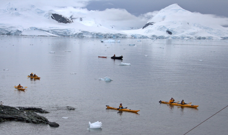 Kayaks in Antarctica