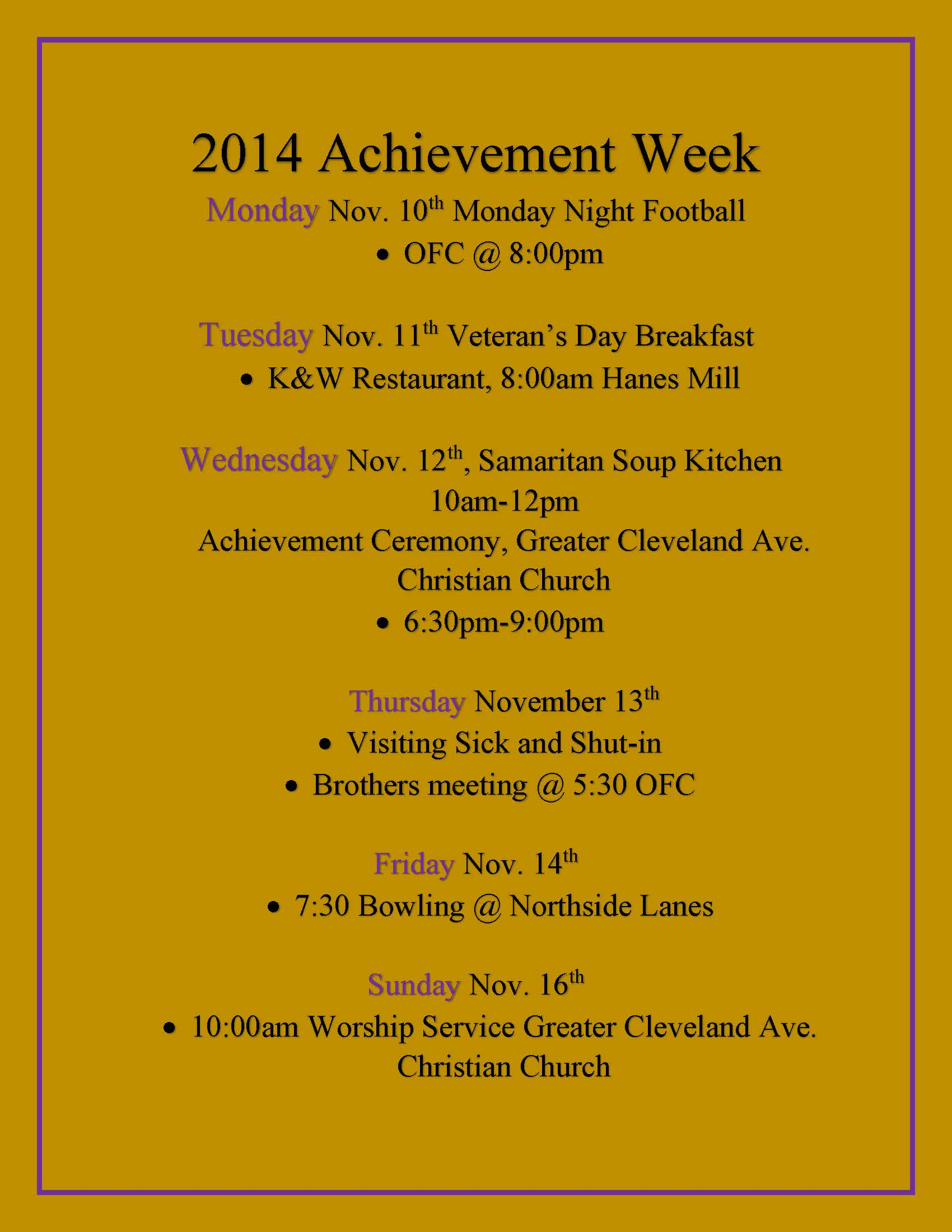 2014 Achievement Week