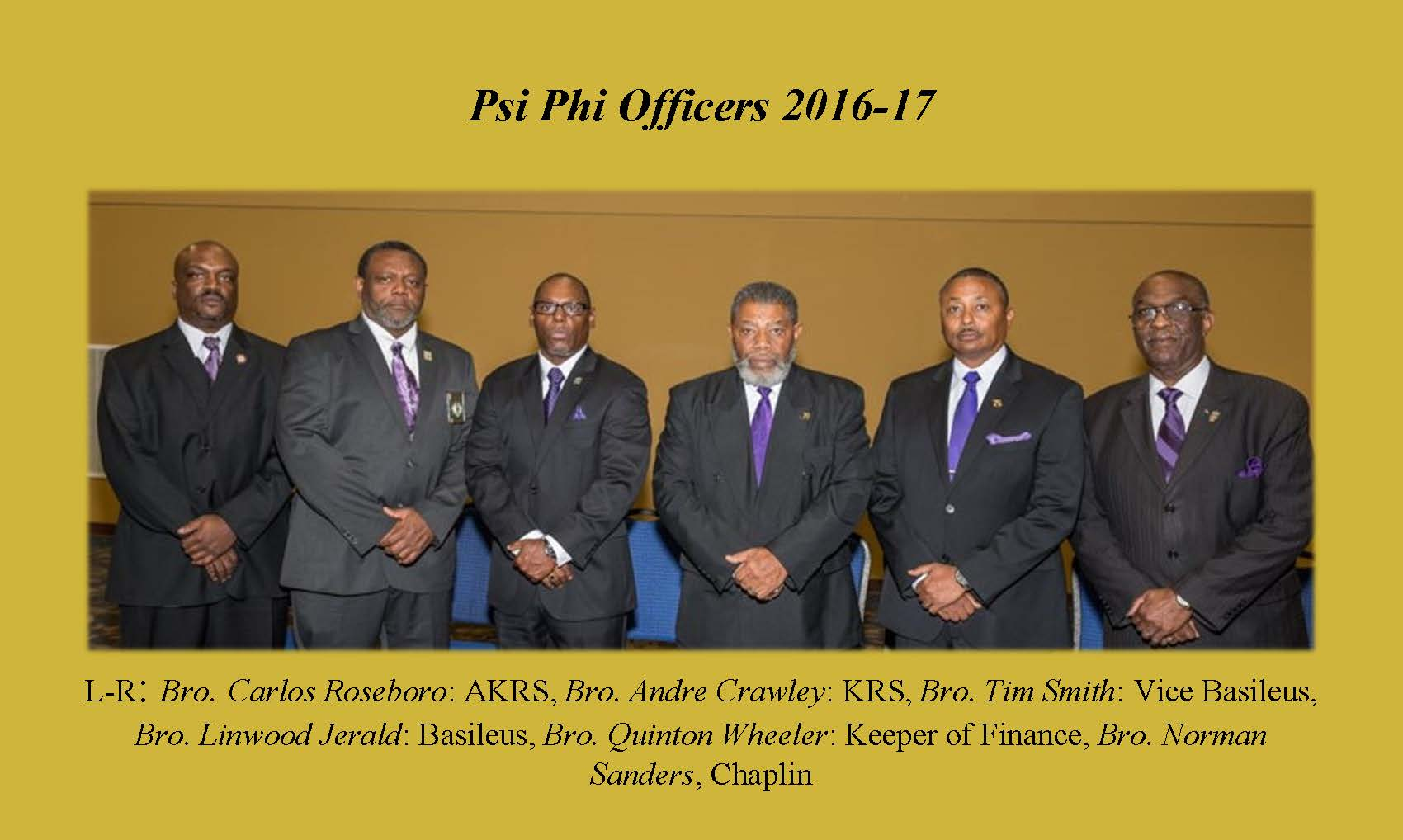 Psi Phi Chapter Officers 2016-17