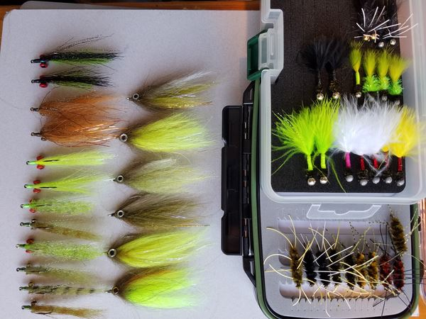 While safe-sheltering at home, Rich Peters is tying some fancy additions for his fly box.