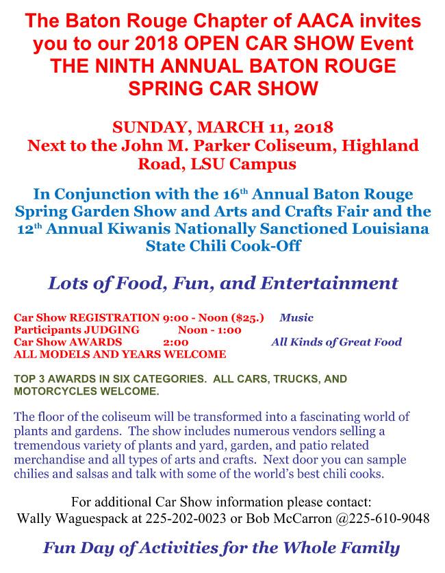 AACA Open Car Show Events Baton Rouge Corvette Club - Car show award categories