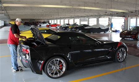 Huge all Corvette show / track event in Fort Worth, TX. 350 Vettes there. Road track and oval track, track garage parking.