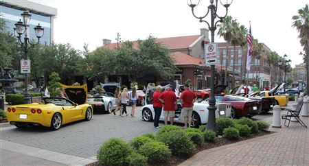 May 2017 Corvette display of our Corvettes at Perkins Rowe in Baton Rouge, LA.