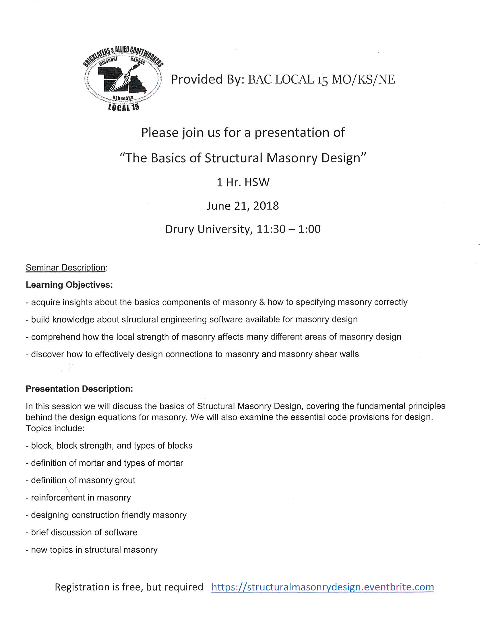 The Basics in Structural Masonry Design flyer