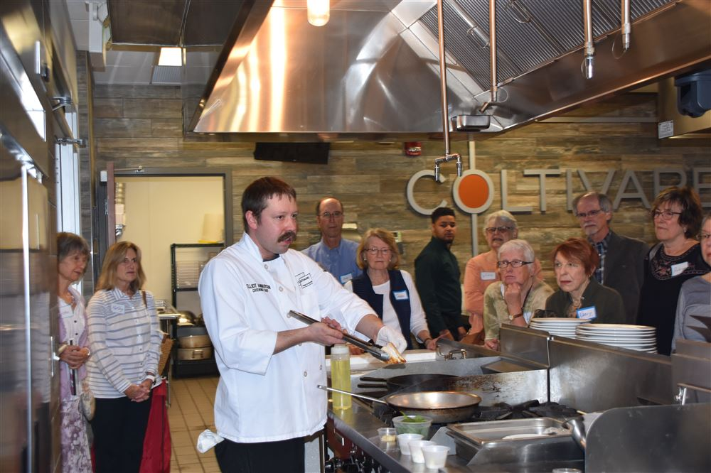 Chef Elliot led the class of 20 cooking Greek Chicken in the educational kitchen at Coltivare.