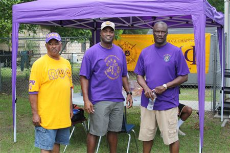 The men of Gamma Iota Chapter of Omega Psi Phi Fraternity Inc. supported the 2013 Housing- Job Fair and Annual Community Meeting, by cooking and serving the patrons.