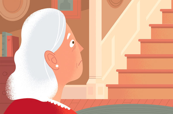 Cartoon of Woman Facing Staircase with Dismay