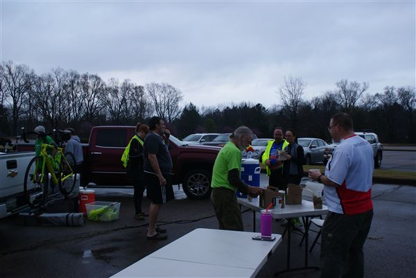 A series of photos along the 43 mile route, focusing on key locations, including SAGs and volunteers.