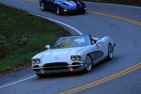 Pictures during the run of Tail of the Dragon that set a record for number of Corvettes on the