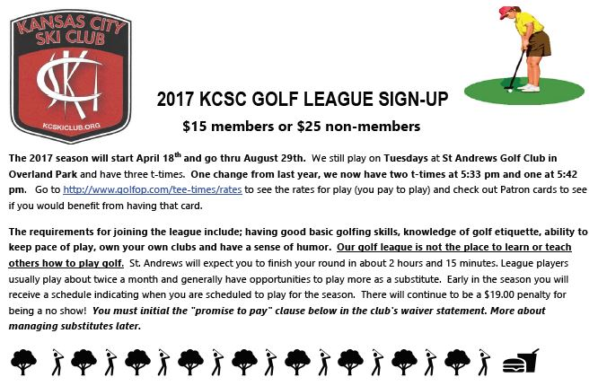 2017 KCSC GOLF LEAGUE SIGN-UP