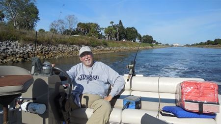 I fished with friend George Vanderwall near Venice, Fl in the intercoastal on his pontoon boat.