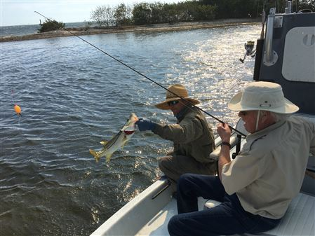 Charlotte Harbor fishing.  Neil Goeppinger and his brother Hans along with fishing guide Rhett Morris.