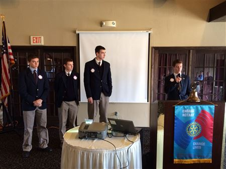 Our Rotary Club welcomes students from all of the area high schools, public and private, to come to a meeting with 4 of their top students to tell us about their accomplishments, activities and plans.