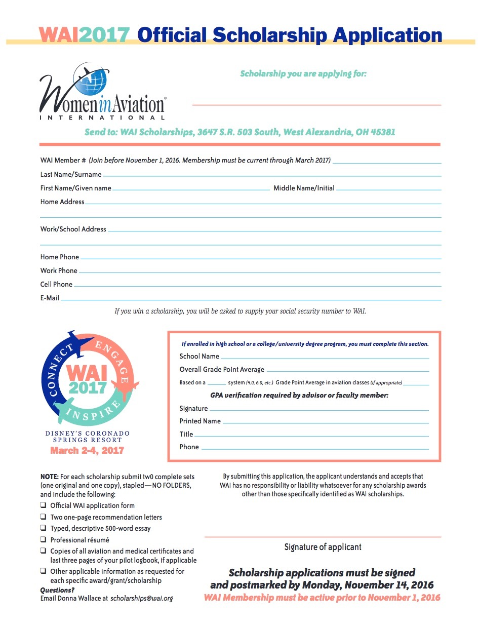 WAI application form 2017 photo