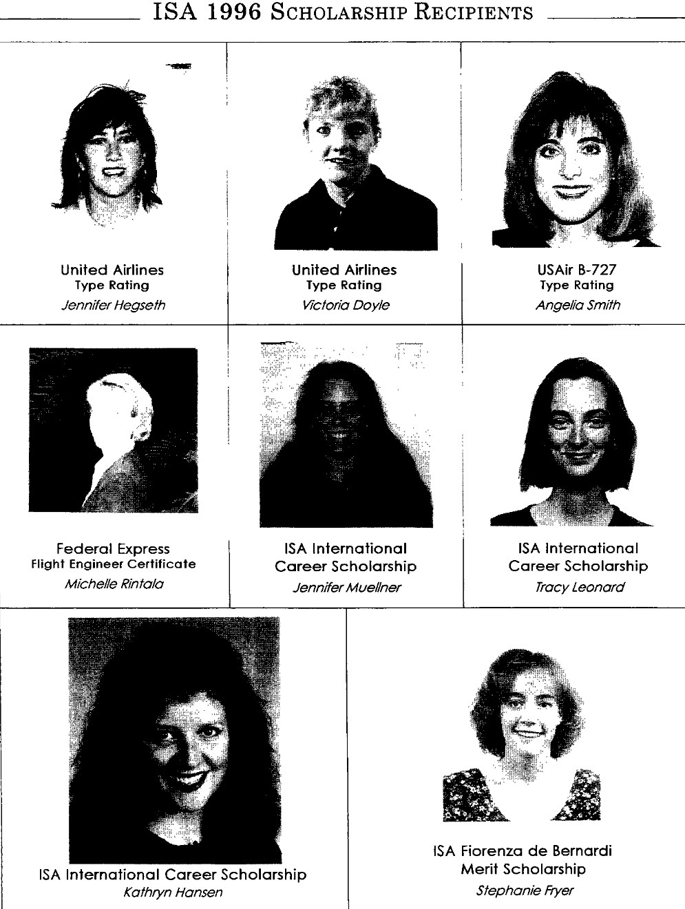 1996 Scholarship Winners