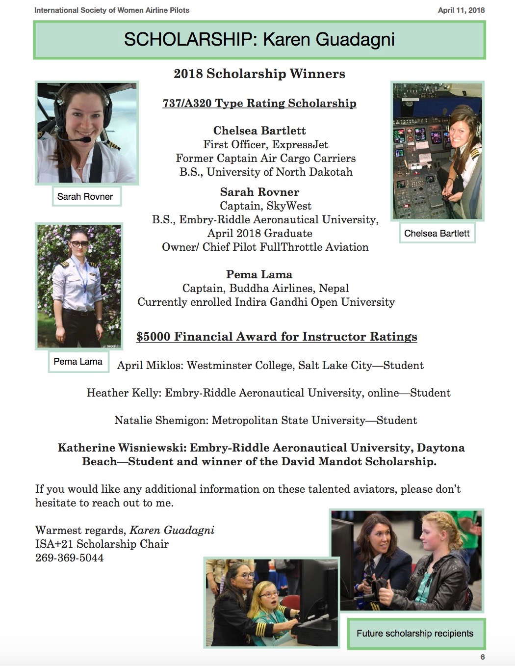 2018 Scholarship Newsletter page