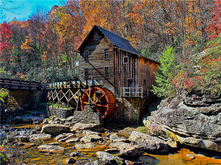 Glade Creek Mill, Built in 1976, Power by Overshot Wheel, Operational