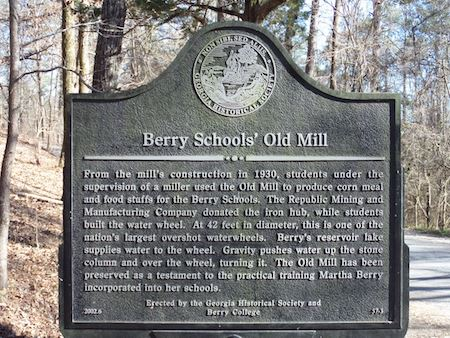 Berry College Grist Mill, GA-057-00, Built in 1930, Powered by Overshot Wheel, Non-Operational