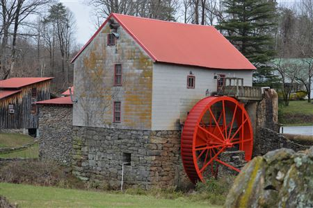 Old Mill of Guilford, Powered by Overshot Wheel, Operational