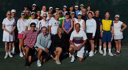 Group shot of MLSCers partaking of 2015 HH Tennis Camp