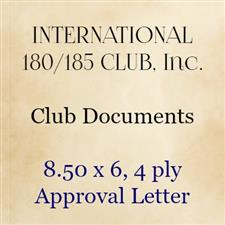 8.50 x 6, 4 ply Approval Letter - click to view details