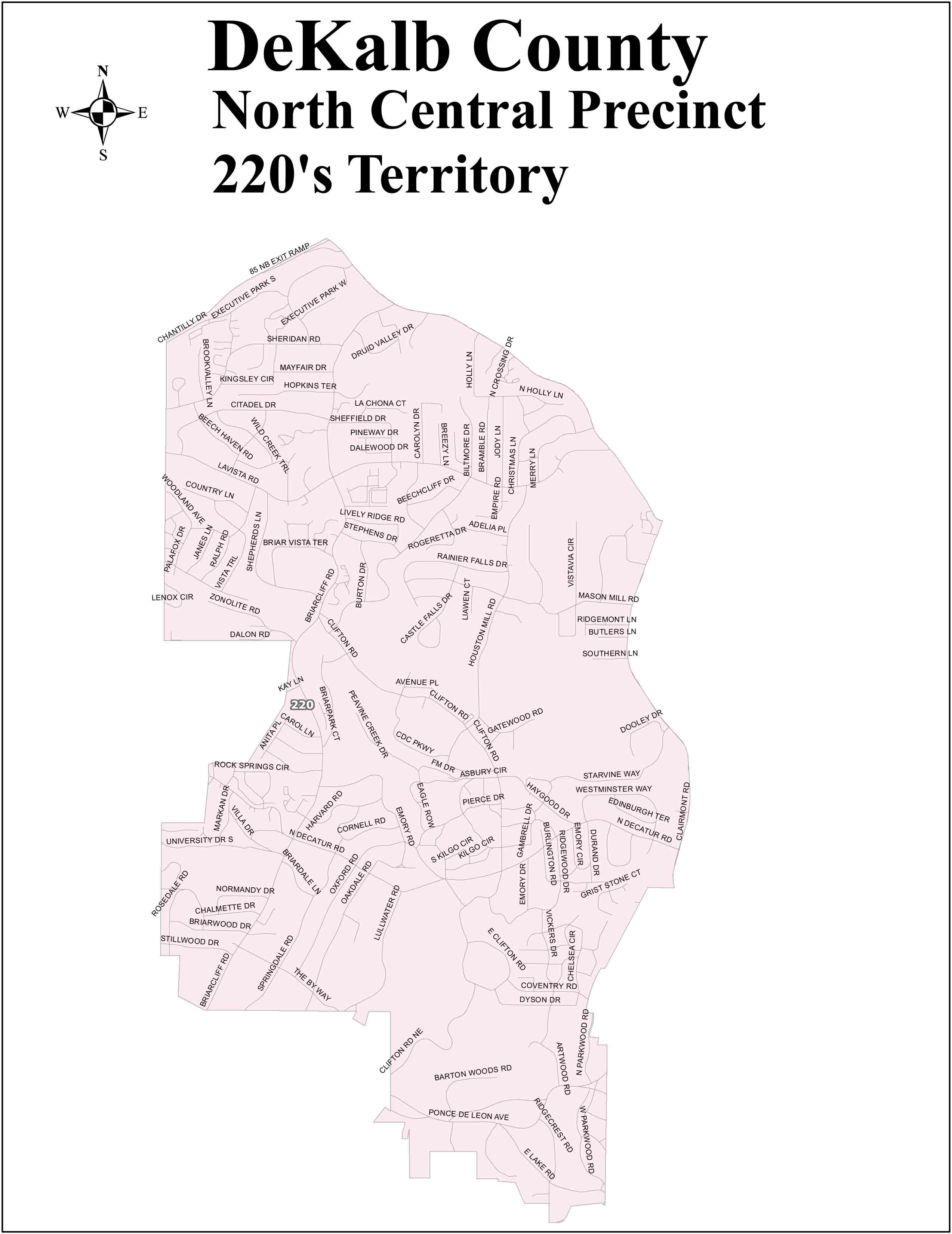 Dekalb County North Central Territory 220 MAP on