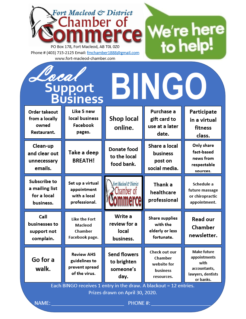 Local Support Business BINGO