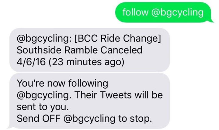 Ride Change Text Notifications via Twitter