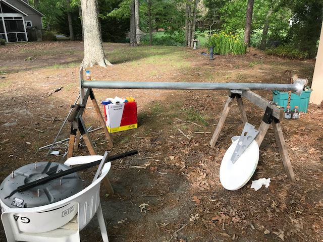 pictures of the radar stand we had built & mounting the system on the boat