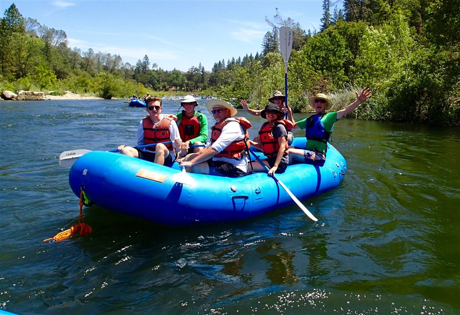 Summer fun on former snow!  EDNSP rafts on the American River