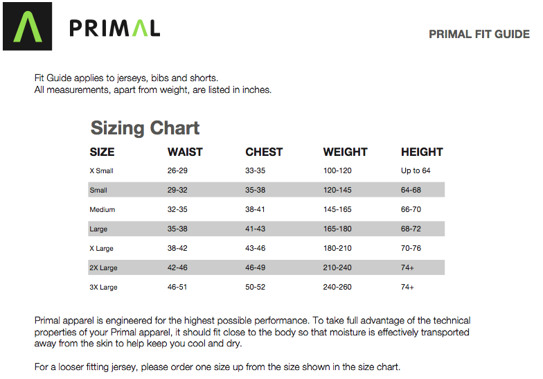 Primal Unisex Fit Guide