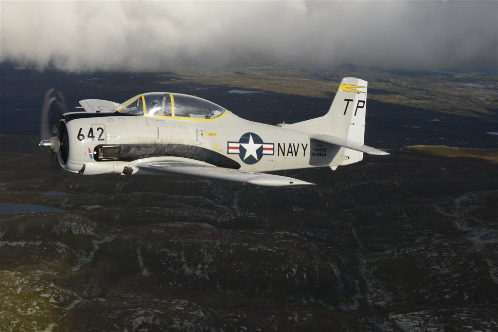 This T-28 recently arrived in Norway from Canada. She has a combat history in Laos.