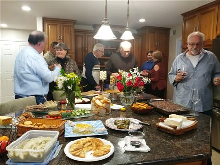 A fun evening feasting on delicious soups, breads, wines and wonderful desserts.
