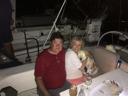 "The second ""pet friendly"" cruise for this sailing season was held September 16/17 on the Rhode River.  Again, hosted by Dale, Ed, and Bianca, a 10-year-old Lab/Border Collie mix, on Sassy Suzy (Catali"