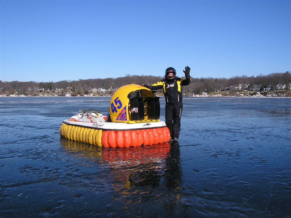 Dave Reyburn and Tony Broad cruising frozen Lake Geneva in Feb 2011