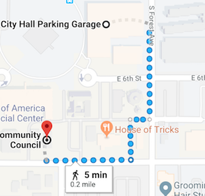 Click on map for location of FREE Saturday parking near event