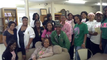 Sorors worked at the Mission doing clerical and domestic duties and also worked in the Bargain Store. Later, Sorors served dessert and played Bingo with residents at the VA Center.