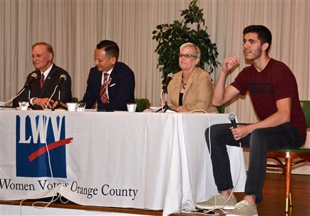 April 2018 Hot Topic: UCF's Aubrey Jewett hosts panel  Sen. David Simmons, Rep. Carlos Guillermo Smith, Leagues' VP Pat Brigham on 2018 Legislative Sess. & School Safety w/student speaker JC Marinez.