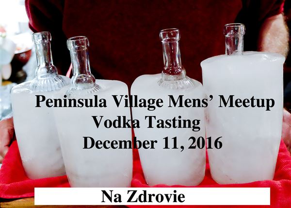 Brave Villagers (all male) gather to judge which vodka is best.