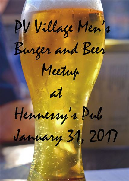 Peninsula Village men's group meets at Hennessey's Pub for burgers and beer, January 31, 2017.