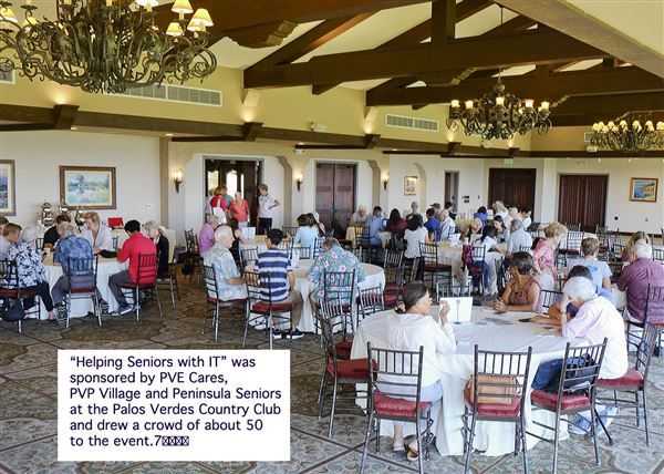 Sixty seniors lined up with questions about their cell phones, iPads, laptops and other technology and received answers from 15 local teens July 26 at the Palos Verdes Golf Club.  Everyone left happy.