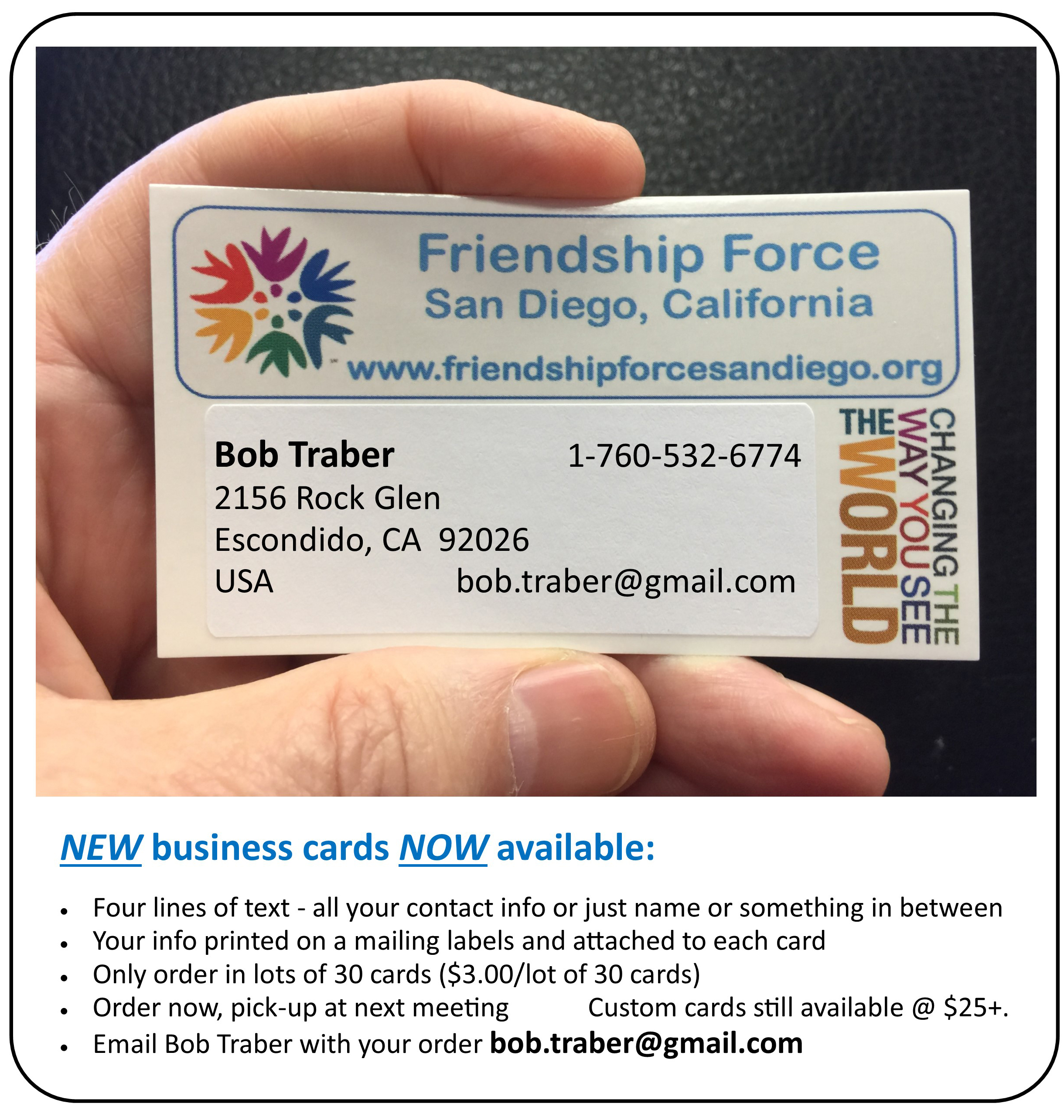 News articles friendship force of san diego new club business cards now available reheart Image collections