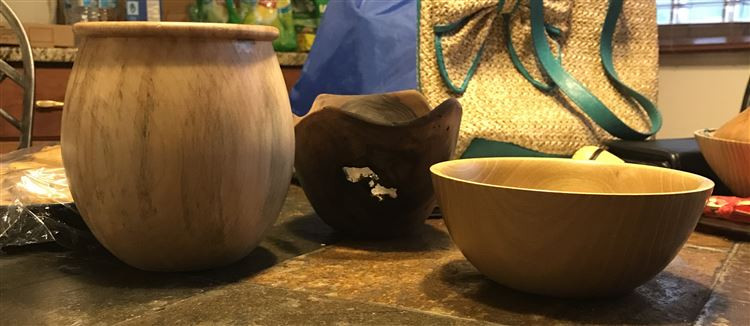 First set of finished bowls and lidded boxes as a direct result of various Open Shops Tom attended.