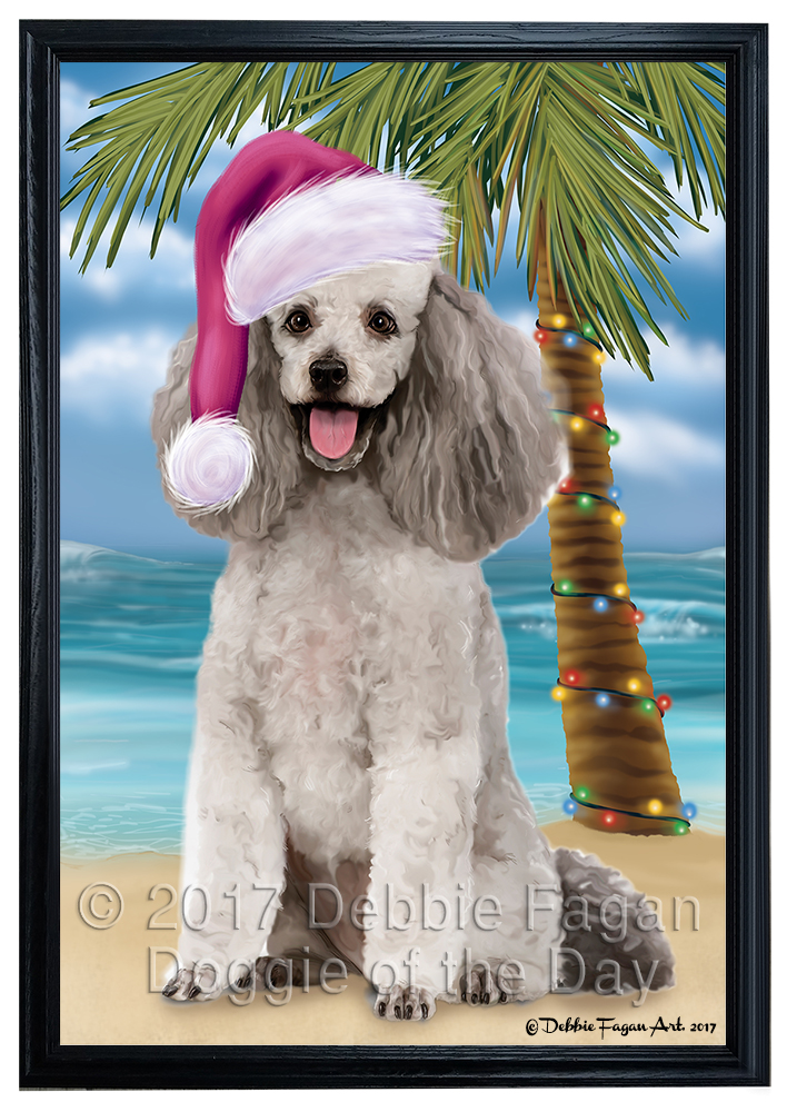 Summertime Happy Holidays Poodle Grey Dog Framed Canvas Print Wall ...
