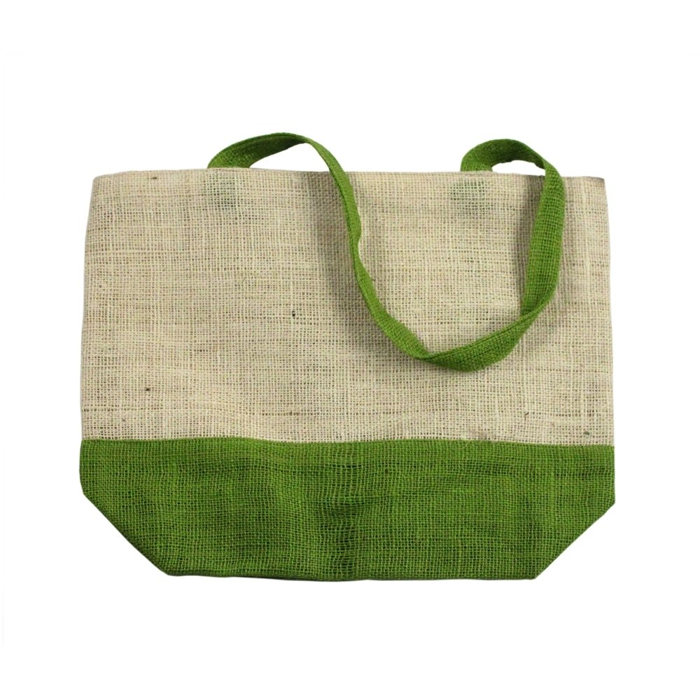 "17.5"" x 13"" Eco-friendly Jute/Burlap Large Beach Grocery Shopping Tote Bag Green"