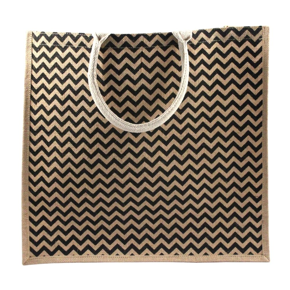 Chevron Burlap Beach Bag Eco-friendly Large Jute Shopping Tote
