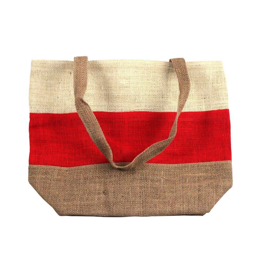 "17.5"" x 13"" Eco-friendly Jute/Burlap Large Beach Shopping Tote Bag Red/Brown"