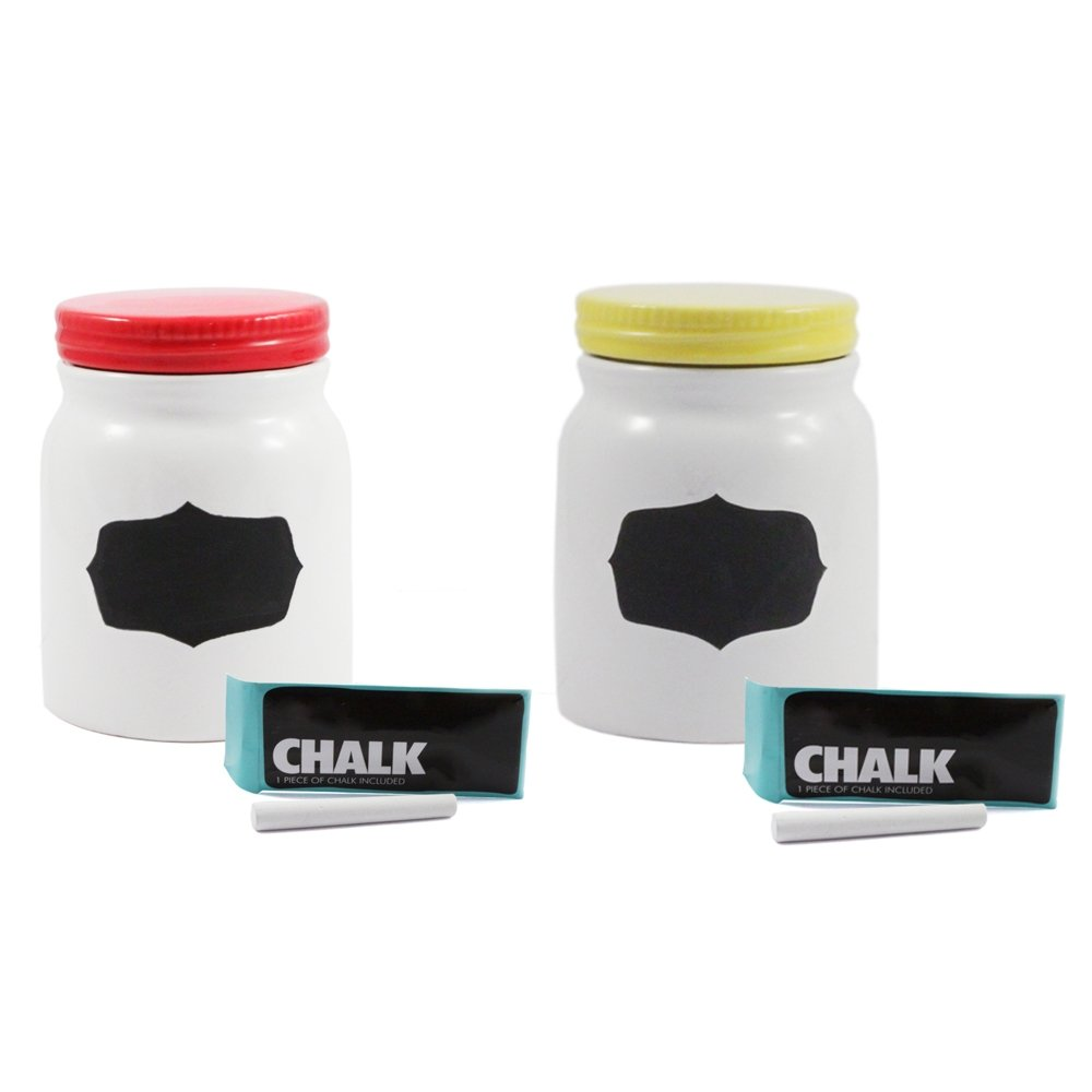 2pk Ceramic Chalkboard Airtight Seal Container Yellow/Red (Small)