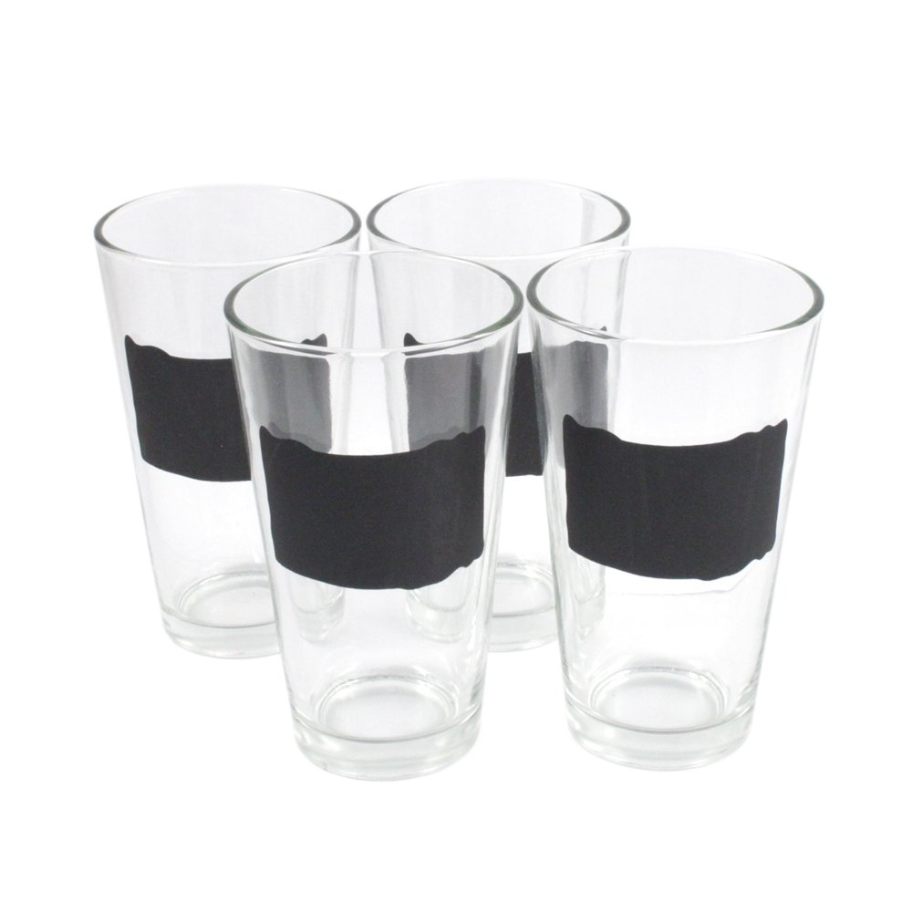 4pc Chalkboard 16oz Pint Glass Set