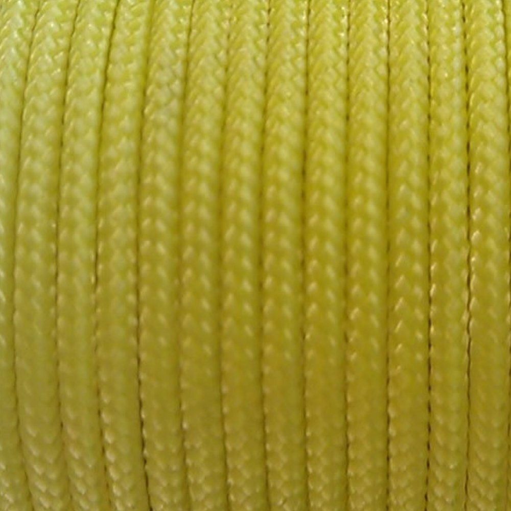 Sleeved Spectra Kevlar Cord - Yellow 25ft 325lbs Strength